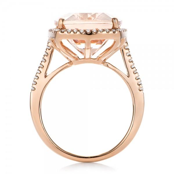 Morganite and Diamond Halo Fashion Ring - Finger Through View