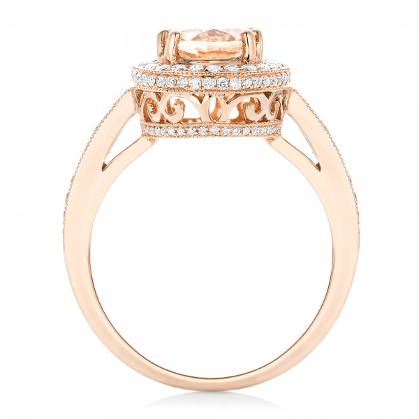 Morganite and Diamond Halo Fashion Ring - Front View -  102532 - Thumbnail