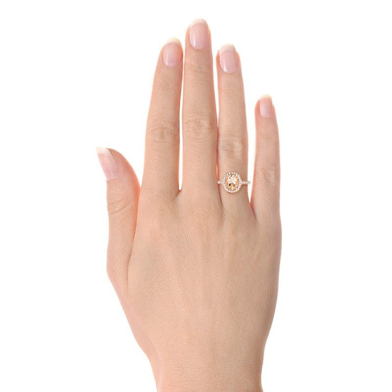 Morganite and Diamond Halo Fashion Ring - Hand View -  102532 - Thumbnail