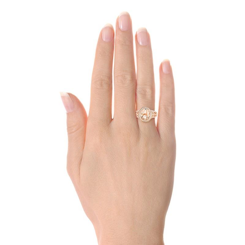 Morganite and Diamond Halo Fashion Ring - Model View
