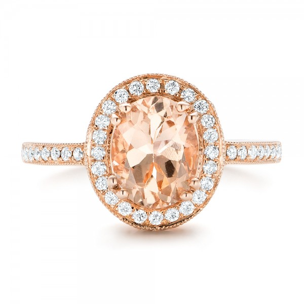 Morganite and Diamond Halo Fashion Ring - Top View -  102532 - Thumbnail