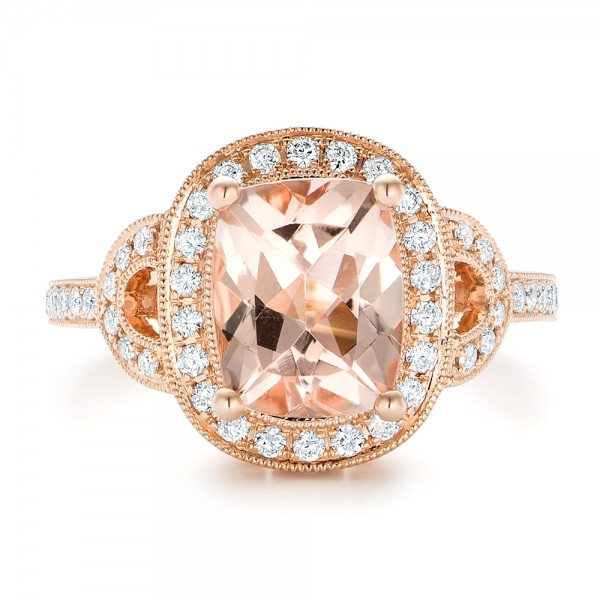 Morganite and Diamond Halo Fashion Ring - Top View