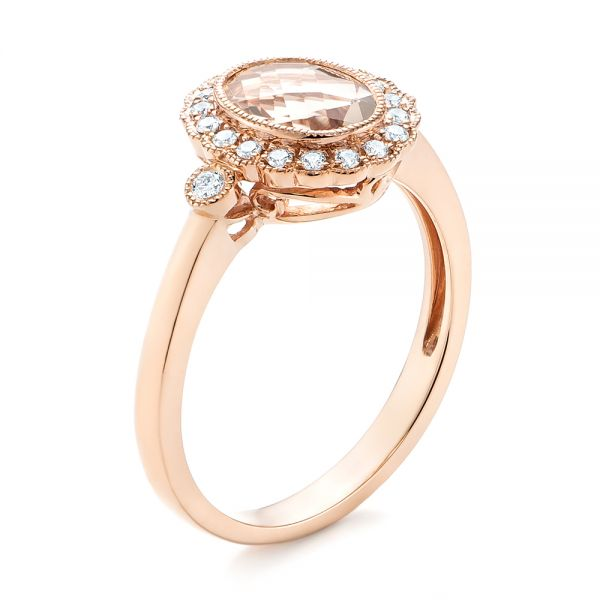 Morganite and Diamond Halo Ring - Image
