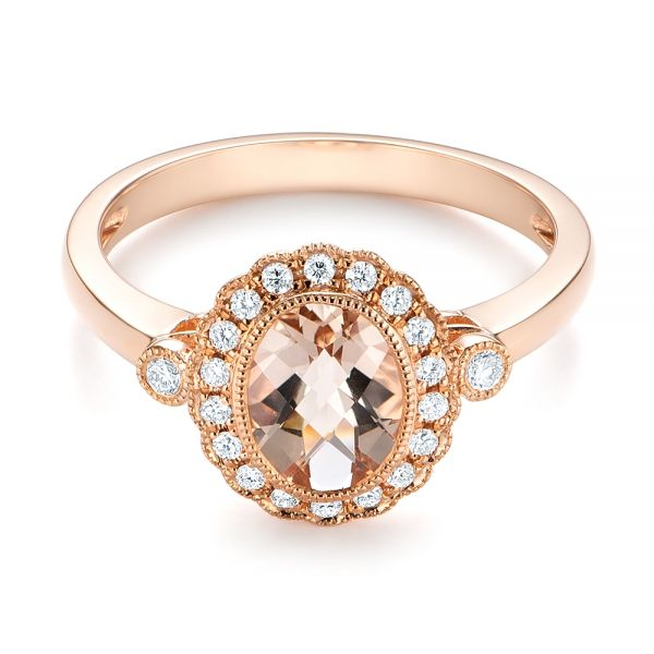 Morganite and Diamond Halo Ring - Flat View -  104587 - Thumbnail