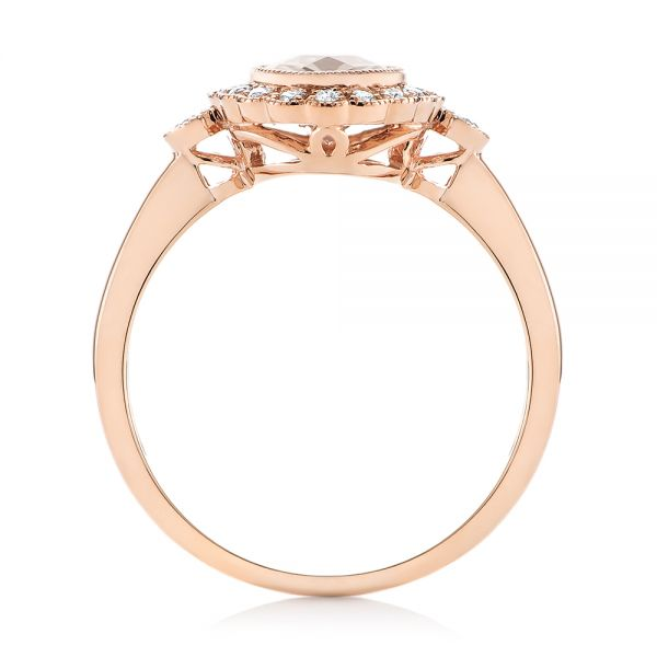Morganite and Diamond Halo Ring - Front View -  104587 - Thumbnail