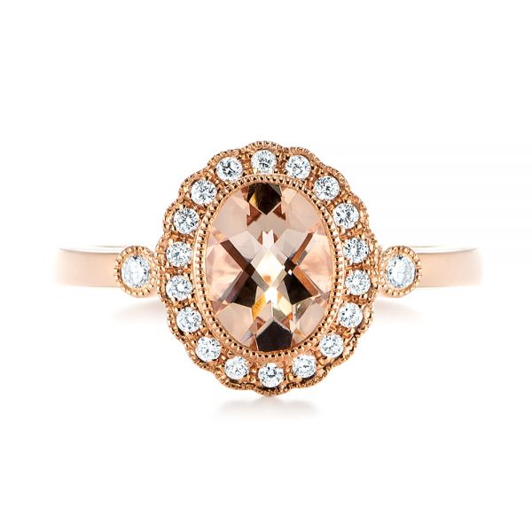 Morganite and Diamond Halo Ring - Top View -  104587 - Thumbnail