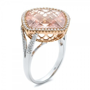 Morganite and Diamond Halo Two-Tone Ring