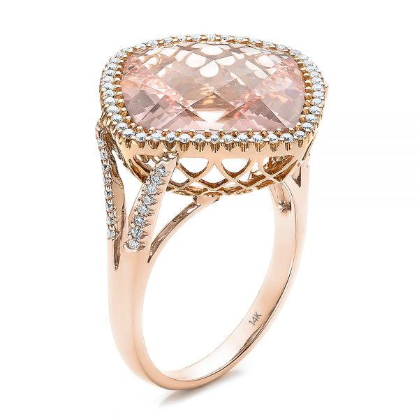 Morganite and Diamond Halo Two-Tone Ring - Image