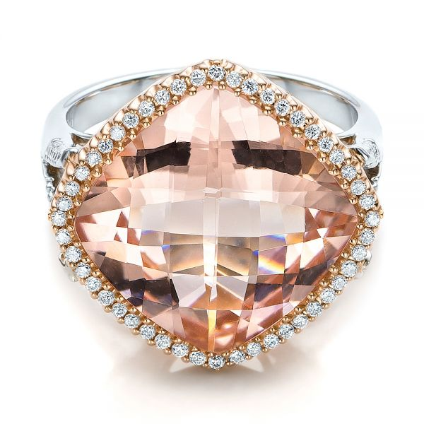 Morganite And Diamond Halo Two-tone Ring - Flat View -