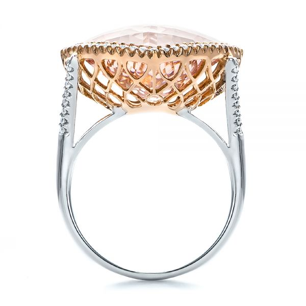 Morganite And Diamond Halo Two-tone Ring - Front View -