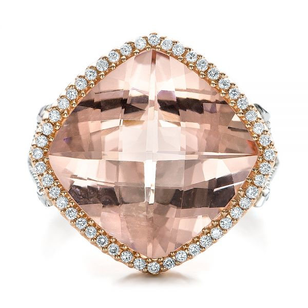Morganite And Diamond Halo Two-tone Ring - Top View -
