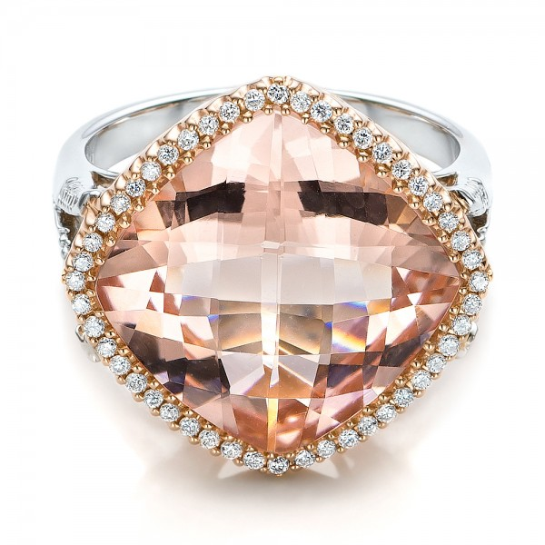 Morganite and Diamond Halo Two-Tone Ring - Laying View