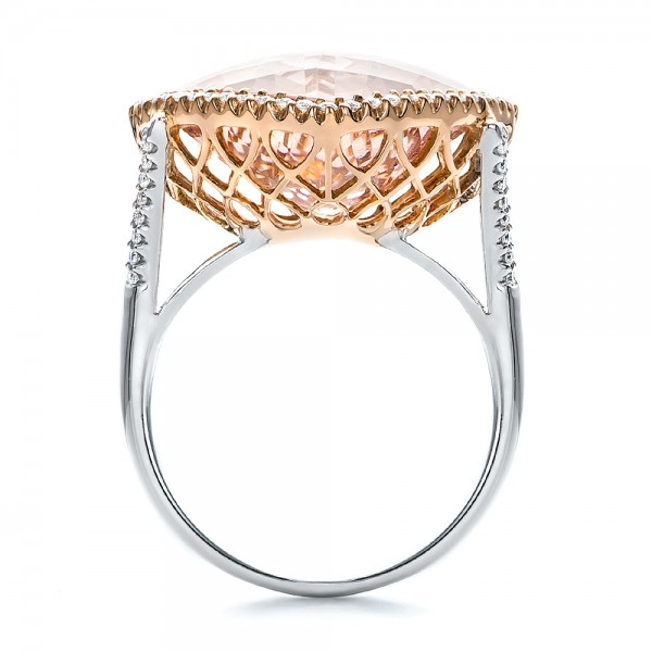 Morganite and Diamond Halo Two-Tone Ring - Finger Through View