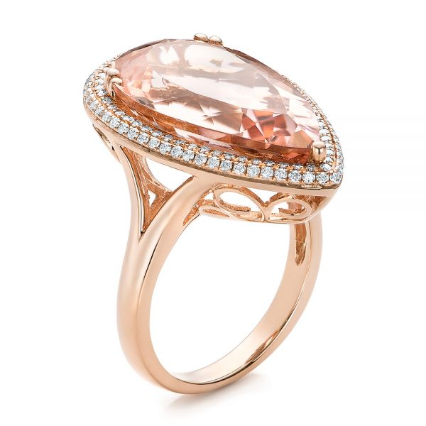 Morganite and Double Diamond Halo Fashion Ring - Image