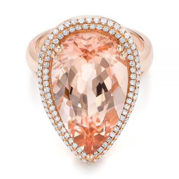 Morganite And Double Diamond Halo Fashion Ring - Flat View -
