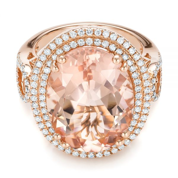 Morganite And Double Diamond Halo Fashion Ring - Flat View -  101781