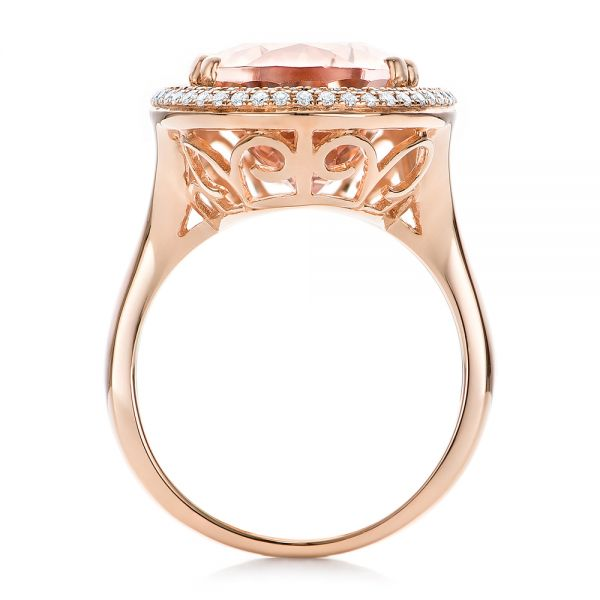 Morganite And Double Diamond Halo Fashion Ring - Front View -