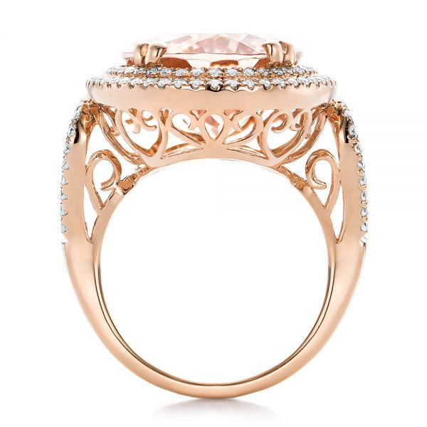 Morganite And Double Diamond Halo Fashion Ring - Front View -  101781