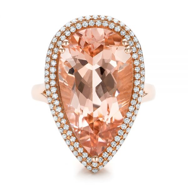 Morganite And Double Diamond Halo Fashion Ring - Top View -