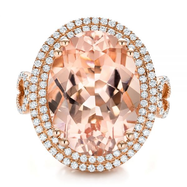 Morganite And Double Diamond Halo Fashion Ring - Top View -  101781