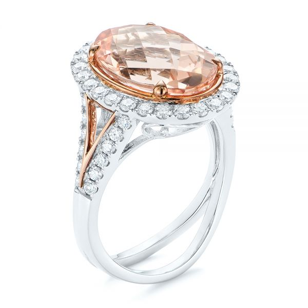 Oval Morganite and Diamond Halo Fashion Ring - Image