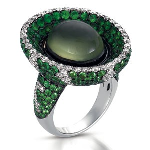 Pave Tsavorite, Diamond and Pearl Ring - Vanna K
