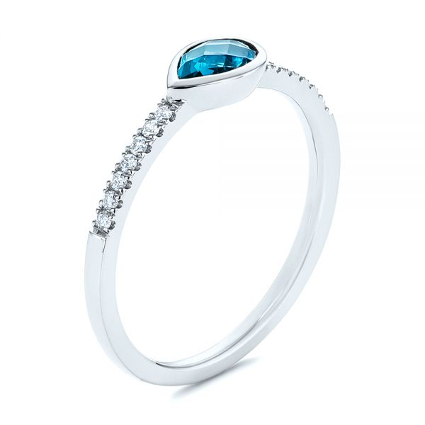Pear London Blue Topaz and Diamond Stacking Ring - Image