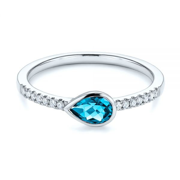 14k White Gold Pear London Blue Topaz And Diamond Stacking Ring - Flat View -  105434 - Thumbnail