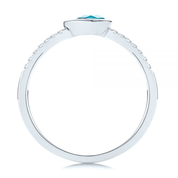 14k White Gold Pear London Blue Topaz And Diamond Stacking Ring - Front View -  105434 - Thumbnail