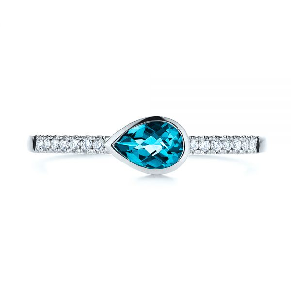 14k White Gold Pear London Blue Topaz And Diamond Stacking Ring - Top View -  105434 - Thumbnail