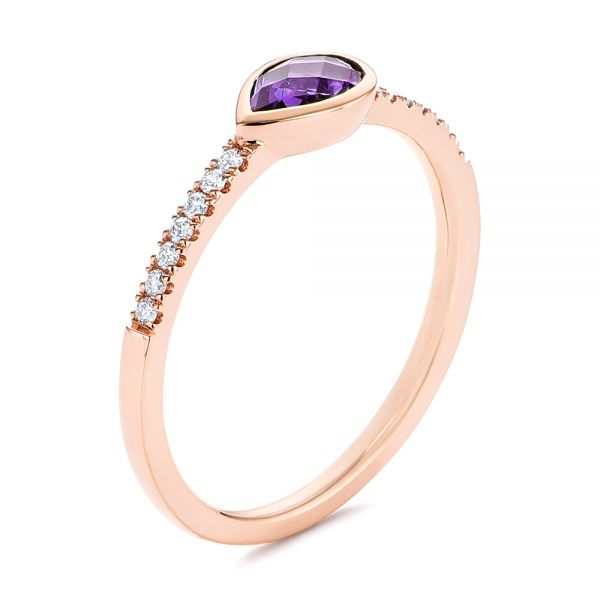 Pear Shaped Amethyst and Diamond Fashion Ring - Image