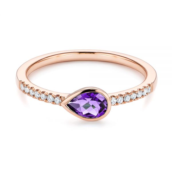 14k Rose Gold Pear Shaped Amethyst And Diamond Fashion Ring - Flat View -  105402