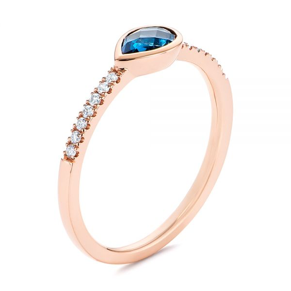 Pear Shaped London Blue Topaz and Diamond Fashion Ring - Image