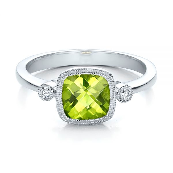 18k White Gold 18k White Gold Peridot And Diamond Ring - Flat View -