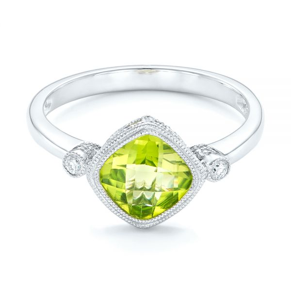 14k White Gold Peridot And Diamond Ring - Flat View -