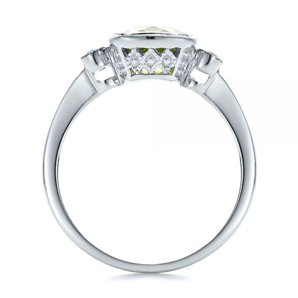 18k White Gold 18k White Gold Peridot And Diamond Ring - Front View -