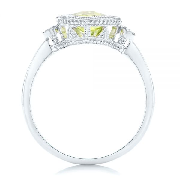 14k White Gold Peridot And Diamond Ring - Front View -