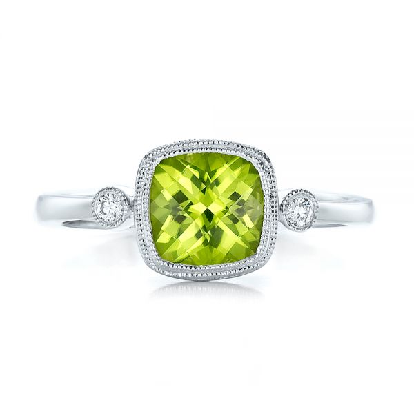 18k White Gold 18k White Gold Peridot And Diamond Ring - Top View -