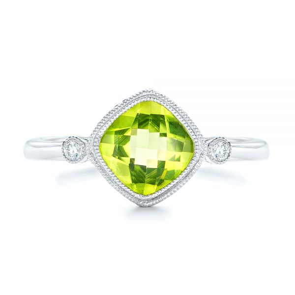 14k White Gold Peridot And Diamond Ring - Top View -