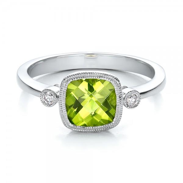 Peridot and Diamond Ring - Laying View
