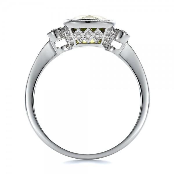 Peridot and Diamond Ring - Finger Through View