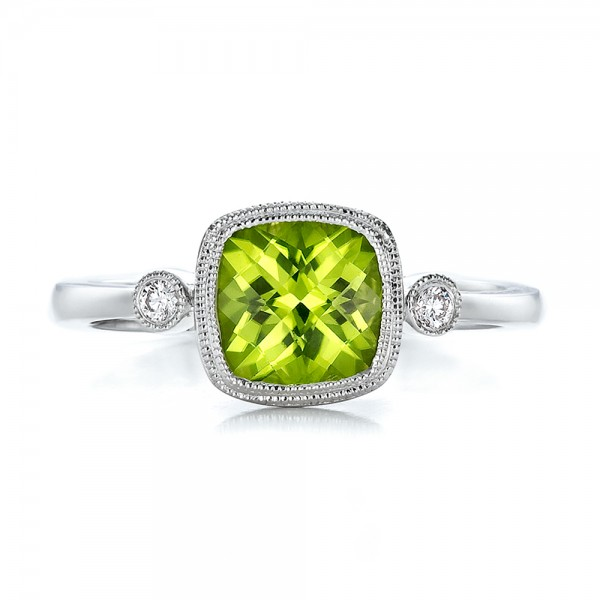 Peridot and Diamond Ring - Top View