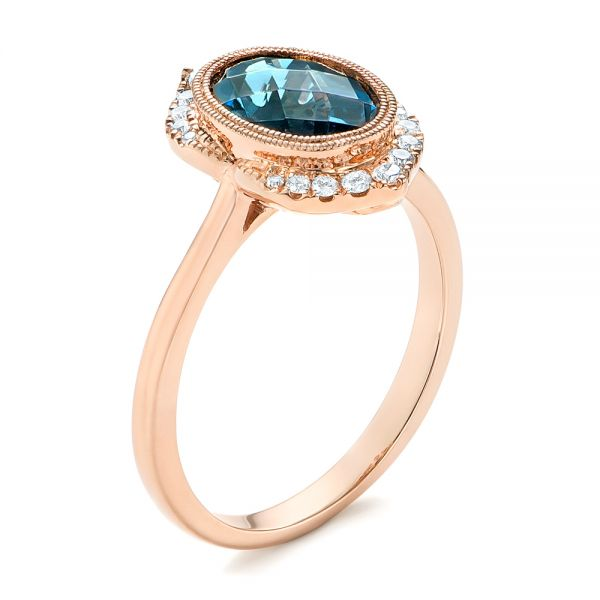 Rose Gold Diamond and London Blue Topaz Fashion Ring - Image
