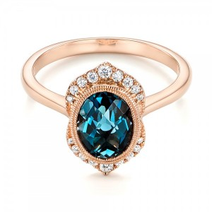 Rose Gold Diamond and London Blue Topaz Fashion Ring