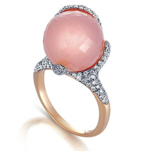 Rose Quartz and Pave Diamond Ring - Vanna K