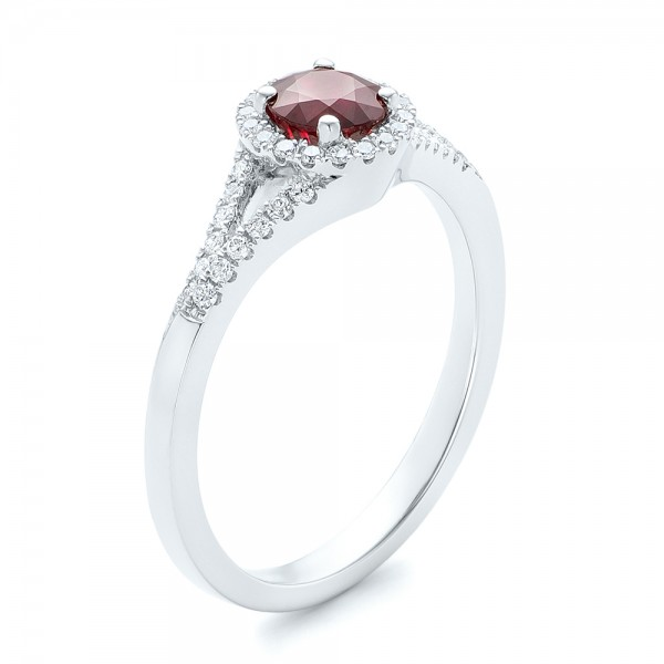 Ruby and Diamond Halo Ring - 14K  -  102721