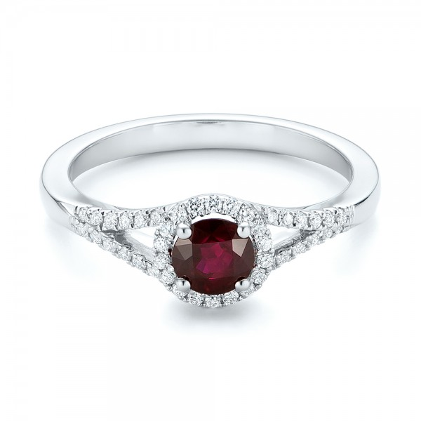 Ruby and Diamond Halo Ring - Flat View -  102721 - Thumbnail