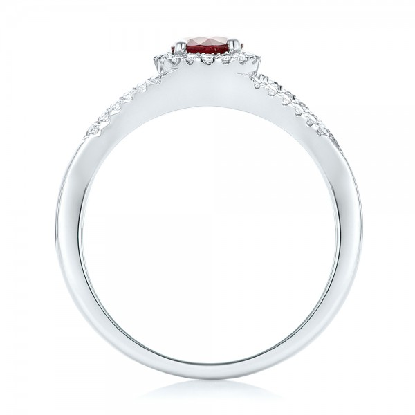 Ruby and Diamond Halo Ring - Front View -  102721 - Thumbnail