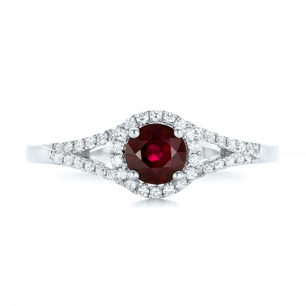 Ruby and Diamond Halo Ring - Top View -  102721 - Thumbnail