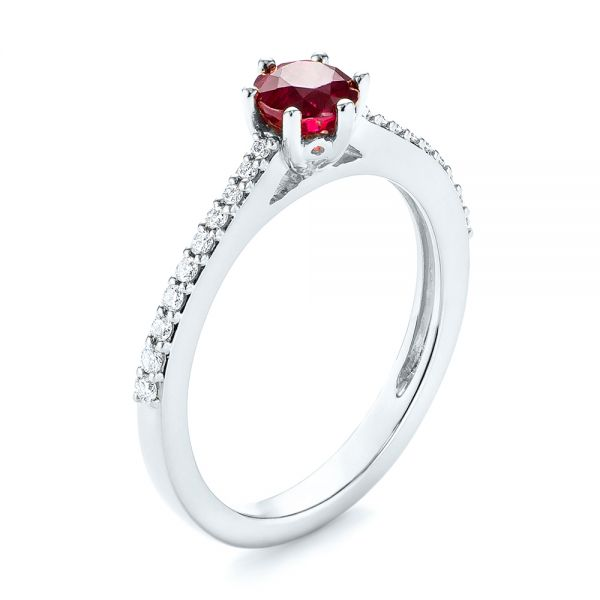 Platinum Platinum Ruby And Diamond Ring - Three-Quarter View -  104586